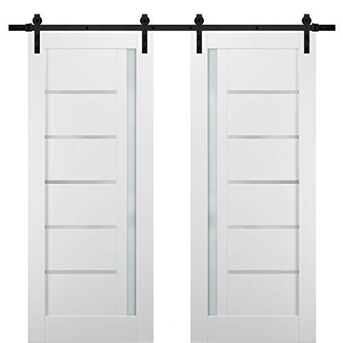 Barn Sliding White Door 42 x 84 with Black Hardware Planum 0020 Matte White Closet Modern Solid Core Door Rail 8FT Hangers Steel Set