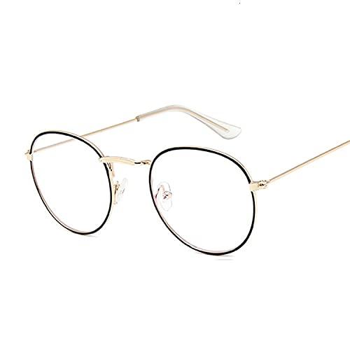 XKMY Gafas de montura de gafas de rayos redondos transparentes para hombres y mujeres, gafas falsas de miopía óptica vintage, marcos de gafas (Color del marco: oro negro Trans)
