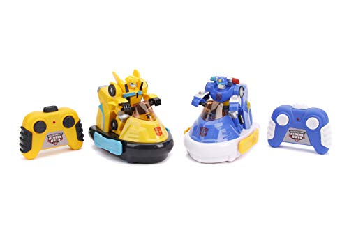 Jada Toys Transformers Rescue Bots Academy Bumblebee Vs. Chase Bumper Cars RC Twin Pack, Toys for Kids