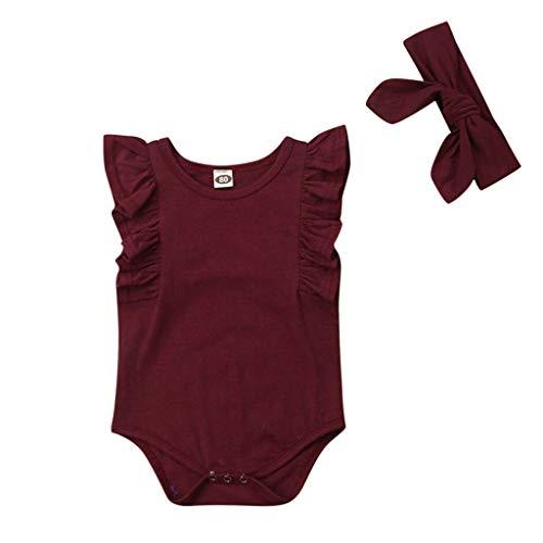 Zylione Baby Kurzarm Plissee Volltonfarbe Strampler + Haargurt Set