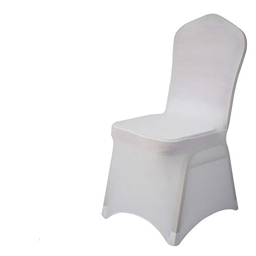 Gelozed 50 PCS White Spandex Dining Room Chair Covers for Living Room - Universal Stretch Chair Slipcovers Protector for Wedding, Banquet, and Party (White, 50)