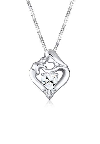 Elli Halskette Herz Mutter Kind Swarovski® Kristalle Silber