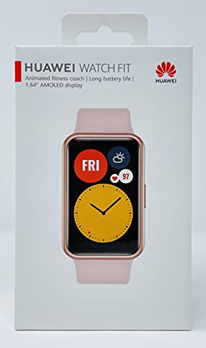 HUAWEI Watch FIT Bluetooth SmartWatch, 1.64' Vivid AMOLED Display, Quick-Workout Animations, 10 Days Battery Life, Sport GPS Fitness Tracker, 5 ATM Waterproof, for Android Phone (Sakura Pink)