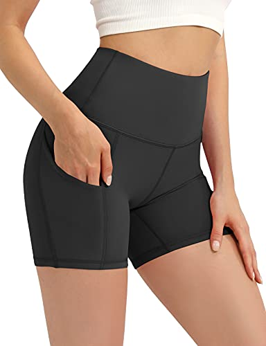 ODODOS Women's 5' High Waist Bike Shorts with Pockets Workout Sports Athletic Running Biker Yoga Shorts, Black, Small