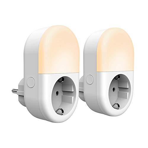 Panamalar 2 in 1 Smart Wlan Steckdose [Steckdose +Nachtlicht] mit app/alexa Sprachsteuerung/Fernbedienung/Timer Funktion,WIFI Steckdose Kinder Nachtlicht Handy gesteuert(2 Stück)