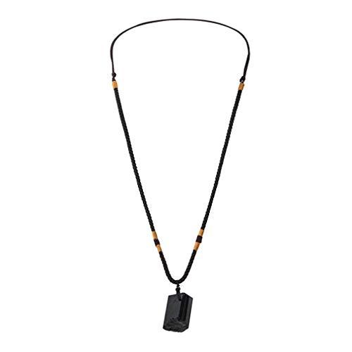 TW1000 Collar de Chakra de energía con Colgante de Piedra de turmalina Natural, Cristal Natural Negro para Hombres y Mujeres, joyería de Regalo (Negro)