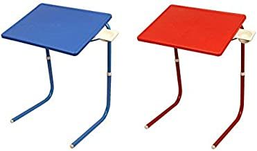 MULTI - TABLE Made in India Multipurpose Couple Table Mate with Cup Holder - Pack of 2 - Blue and Red - Much Stronger Than China Made Tables