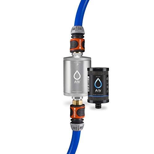 Alb Filter® MOBIL Active Trinkwasserfilter | Sauberes Trinkwasser unterwegs mit Boot, Yacht, Camping oder Mobilheim | Mit Gardena Anschluss Silber