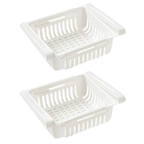 LEEDY 2PC Drainer Rack Einstellbare Lagerregal Kühlschrank Partition Layer Organizer, ausziehbare Kühlschrank Schublade Organizer, Kühlschrank Aufbewahrungsbox