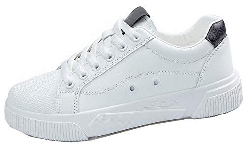 Zapatillas de deporte para mujer y hombre, de piel, color blanco y negro, talla 35 42, color Multicolor, talla 36 EU