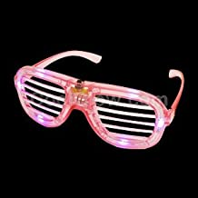 Fun Central AD618, 1 Pc, Pink LED Slotted Shades, LED Party Sunglasses, Glow Eyeglasses, Glow In The Dark Slotted Shades, Flashing Sunglasses