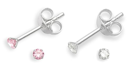 Set of 2 PAIRS Sterling Silver Cubic Zirconia stud Earrings - SIZE: TINY 2mm - Very Small & discreet - See second photo for size - Light Pink & Clear. B41HN/5549PKSET