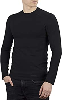 281Z Mens Military Stretch Cotton Long Sleeve T-Shirt - Tactical Hiking Outdoor Undershirt - Punisher Combat Line  Black Small