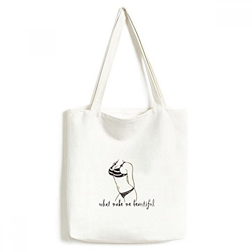 DIYthinker Bikini Beauty Illustratie Zwart Patroon Milieuwasbaar Winkelen Tote Canvas Tas Craft Gift