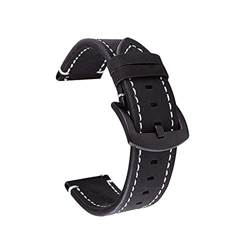 XIAOFANG 18 mm 20 mm 22 mm de Reloj Ajuste para Samsung Galaxy Watch 46mm 42mm Reloj de Reloj de Cuero Fit para Galaxy Watch Active 2 Gear S3 Watch Strap (Band Color : Black, Band Width : 24mm)