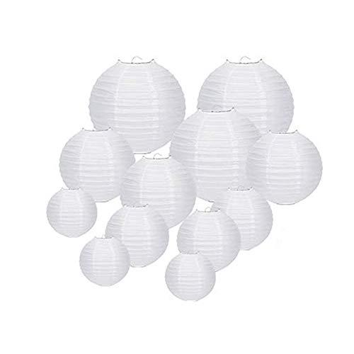 Cratone 20 Stück Papier Laterne Lampions rund Lampenschirm Hochtzeit Dekoration Papierlaterne zum Dekorieren von Leuchten für Party Geburtstag und Hochzeit Dekoration Weiß