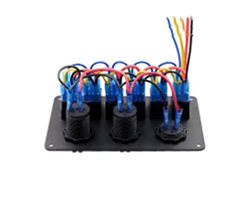 JIAQING Panel de Control del Interruptor de Palanca 12V con Cargador USB Dual Ajuste para Yacht Marine Boat Impermeable Rocker Interruptores de automóviles Auto Accesorios (Color : 5GangRed)
