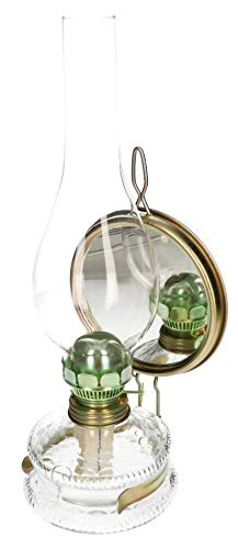 KOTARBAU Öllampe Mit Spiegel & Dochthalter Petroleumlampe 32,5 cm Höhe Befüllbar Antik Sturmlaterne Glaskolben Tischlampe Laterne Oil lamp Gartenlampe