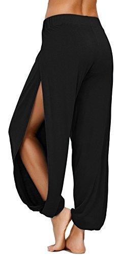 AvaCostume High Slit Harem Pants Women Hippie Harem Pants Trousers Black M