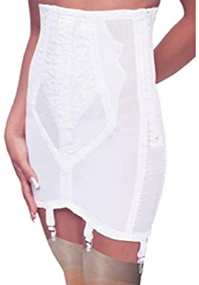 Rago Women's High Waist Open Bottom Girdle with Zipper, White, Large (30)
