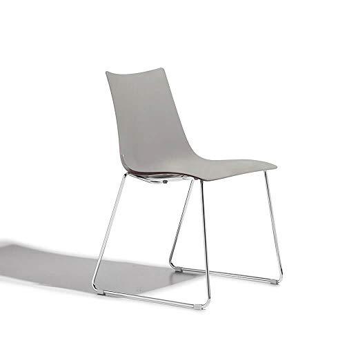 Scab Set 2 Design Zebra Technopolymère Chaise Pied traîneau chromée et Coquille Gris Tourterelle