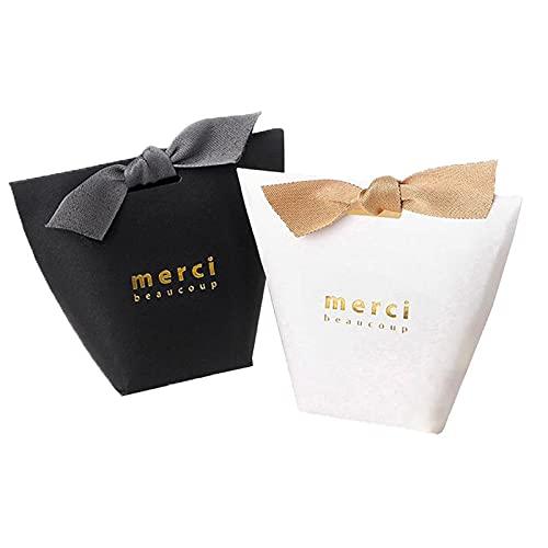 YUECUTE, confezione da 20 scatole per confetti, tagliate al laser, con nastri, per matrimoni, feste, decorazioni pasquali, Black+White, small