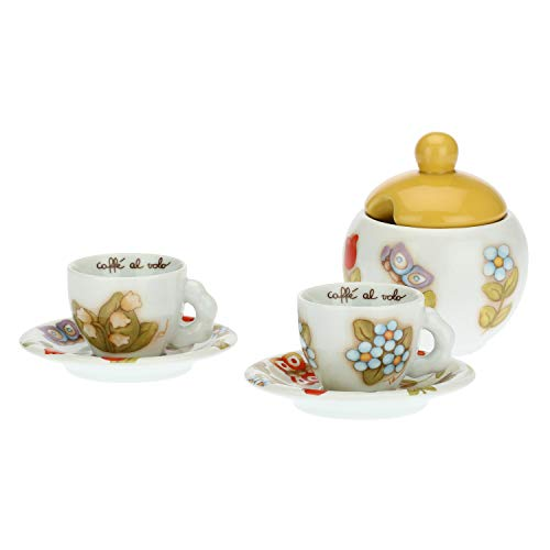 THUN ® - Set 2 Tazzine caffè e Zuccheriera Country - Porcellana - 100 ml - Ø Interno 6 cm - h 5 cm - piattino Ø 11,5 cm - zuccheriera Ø 9,5 cm - h 7 cm - h con Coperchio 14 cm