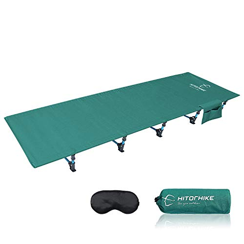 HITORHIKE Camping Cot Compact Folding Cot Bed for Outdoor Backpacking Camping Cot Bed (Green)