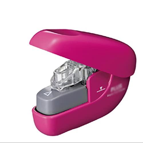 BARLEY Grapadora sin Grapas pequeñas grapadoras Creativas 6-10 Capacidad de Hoja Grapadora de Escritorio sin Esfuerzo for Estudiantes (Color : Pink)
