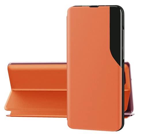 Funda compatible con Samsung A30s Funda rígida de piel, tipo libro Samsung A30s Cover Magnetic Flip para Samsung A30s Case Naranja, Samsung A30s