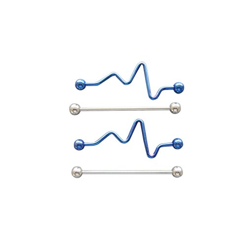 JEAN'S FRIEND 14G SS 316L Steel Cobalt Blue Zig and Zag Barbell Body Piercing Jewelry 4 Pack