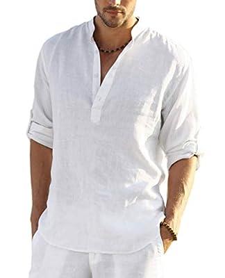 COOFANDY Men Premium Henley Neck Linen Shirts Casual Long Sleeve Basic Shirts,White,Large, White, Large by