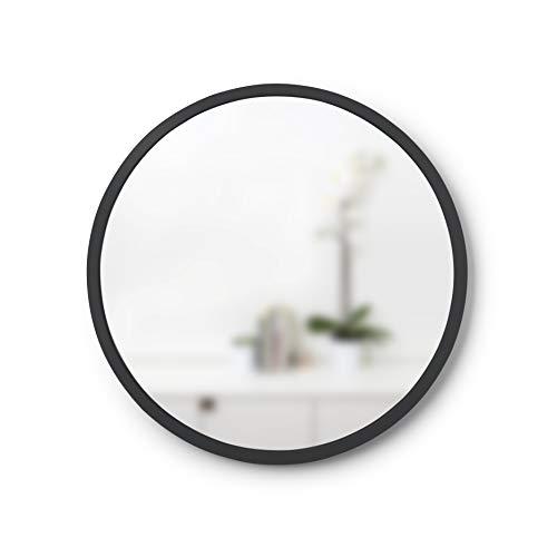 Umbra 1013756-040 - Espejo de Pared con Marco de Goma, Espejo de Pared Redondo de 45,7 cm para entradas, aseos, Salas de Estar y Mucho más, Doble como Arte Moderno de Pared, Color Negro