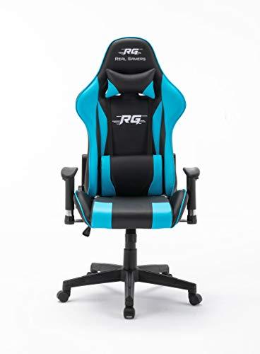 Gaming Computerstuhl Real Gamers Pro schwarz blau Bürostuhl Drehstuhl Gamer Sessel