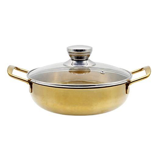 Heigmz Wok antiaderente in acciaio inox ramen Pot dorato frutti di mare gamberi Hot Pot Piccolo Wok Pan trasparente zuppa pentola cucina pentola (colore : 1)