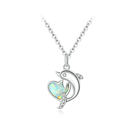 TTGE Dolphin with Heart Necklace 925 Sterling Silver Translucent Opal CZ Long Chain Necklace For Women Luxury Jewelry