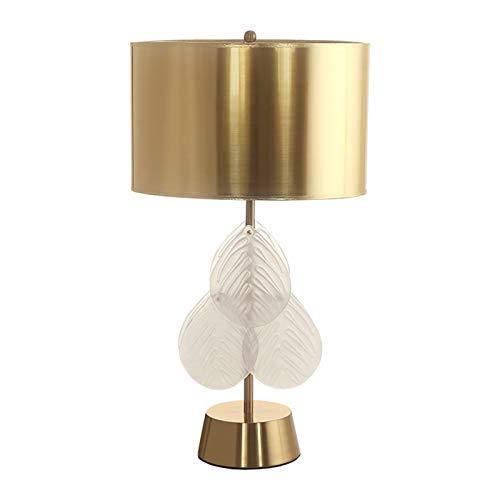 Lámpara Escritorio Lámpara de mesa de cristal moderna decoración de la hoja transparente Sala Dormitorio Mesita de luz de la lámpara, lámpara de escritorio con el tono dorado de PVC Lampara de lectura