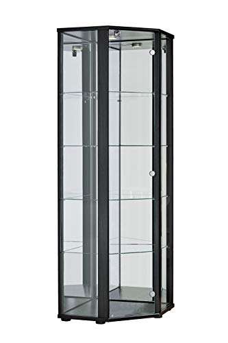BR-Wohndesign Glasvitrine Sammlervitrine Eckvitrine Vitrine in Schwarz (Dekor) mit 4 Glaseinlegeböden Nicht höhenverstellbar Beleuchtung LED Schloß und Spiegel an der Rückwand