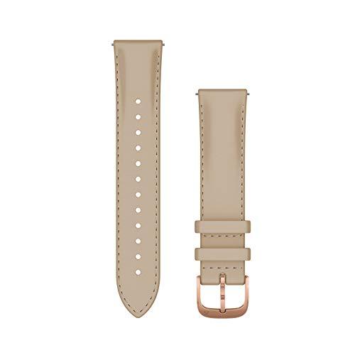 Garmin Armband vival, Luxe, 20 mm, italienisches Leder, Hellbeige, Schnalle, Roségold