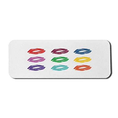 Kiss Computer Mouse Pad, verschiedene und lebhafte farbige Kissmarken Frauen Make-up Lippenstift Glamour Beauty-Thema, Rechteck rutschfeste Gummi Mousepad große mehrfarbig
