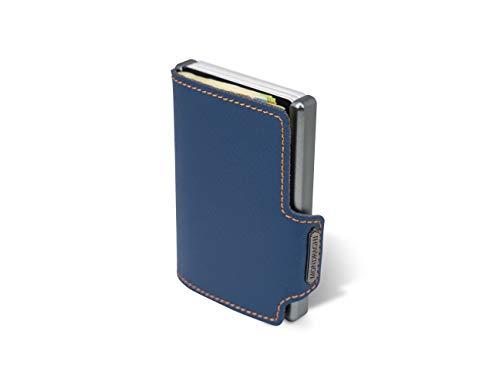 Mondraghi® Portafoglio Saffiano blue stitched | Protezione RFID integrata nella clip portabanconote'Stop and Go' | Scocca in alluminio | Miniwallet in pelle