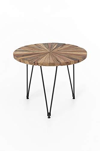 INDEX LIVING Design Teak Couchtisch 60cm Teakholz Tisch Wohnzimmertisch Unikat Holztisch rund