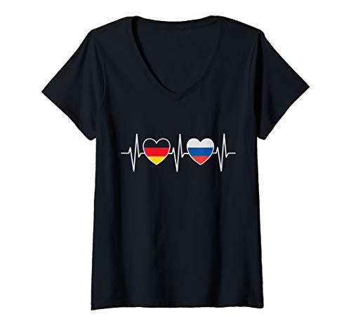 Damen Deutschland Russland Russisch Flaggen Flagge Fahnen Russen T-Shirt mit V-Ausschnitt