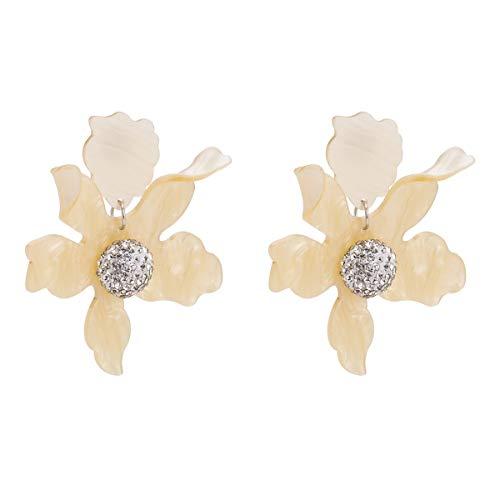 VIWIV Pendientes europeos y americanos de diamantes de flores exageradas de aleación de varios capas de diamantes pendientes bohemios de primavera con joyas de estilo INS para mujer (color: amarillo)