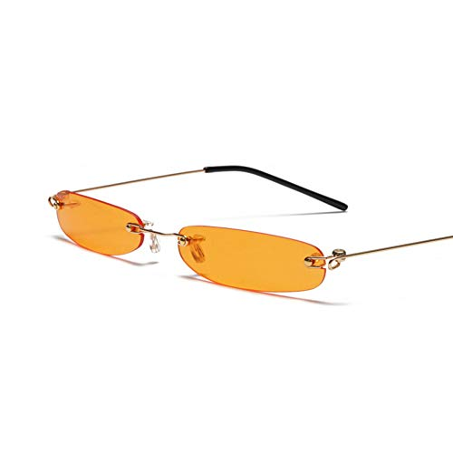N/ A Zonnebril met smal frame, rechthoekig, voor heren, zonder frame, zomer, rood, blauw, zwart, klein gezicht