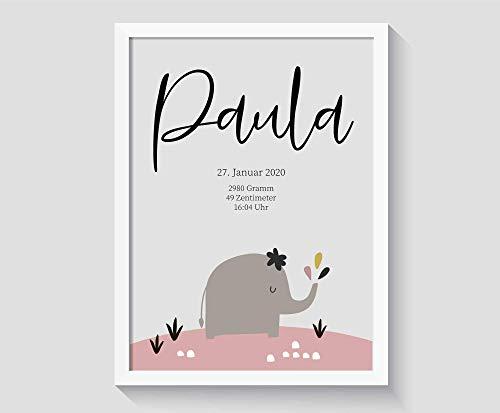 Personalisiertes Geschenk zur Geburt für Baby Mädchen, ohne Bilderrahmen, Poster mit Name, A4 Kunstdruck Kinderzimmer