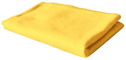 KiGATEX Polar-Fleecedecke in vielen Farben 130x160 cm pflegeleicht für Innen oder Außen (gelb)