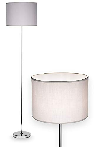 NÄVE Stoff Stehlampe New York grau - Stehleuchte 160 x 34,5 cm mit 1x E27 Fassung 40W - Standleuchte modern aus Stoff ideal für Wohnzimmer & Schlafzimmer - Wohnzimmerlampe, Standlampe, Leselampe