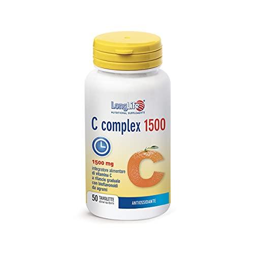 C Complex 1500 LongLife | Integratore di Vitamina C con bioflavonoidi da agrumi | Bellezza, Difese Naturali, Naso e Gola | 50 tav | Doping Free
