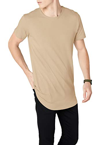 Urban Classics Herren Shaped Long Tee T-Shirt, Elfenbein (Sand), 2XL